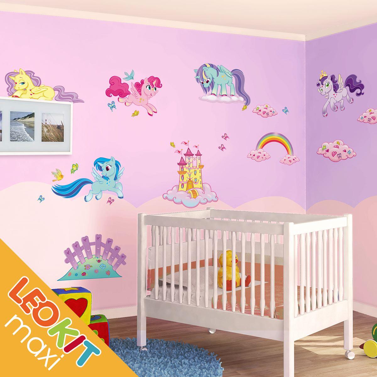 Adesivi murali leokit maxi i mini unicorni leostickers - Adesivi camera bimbi ...